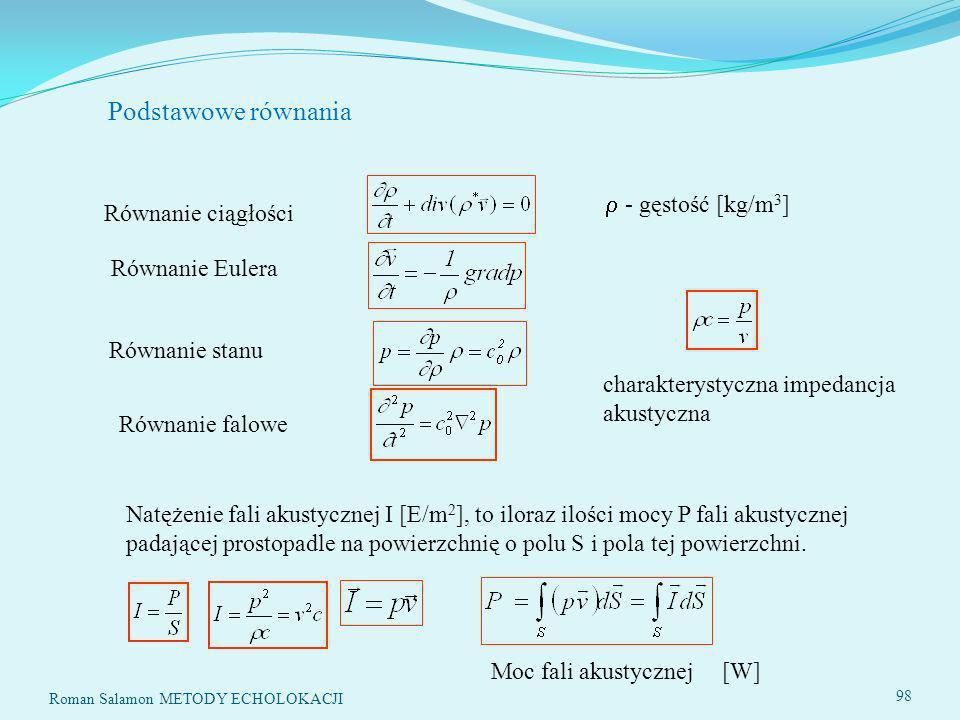 Podstawowe równania  - gęstość [kg/m3] Równanie ciągłości